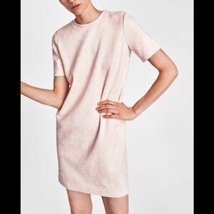 Zara Blush Faux Suede Dress
